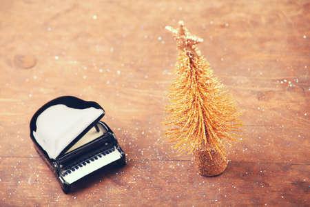 miniature fir tree black piano Stock Photo