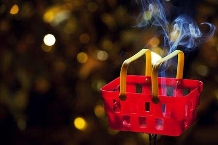 red plastic basket smoke nobody gold bokeh
