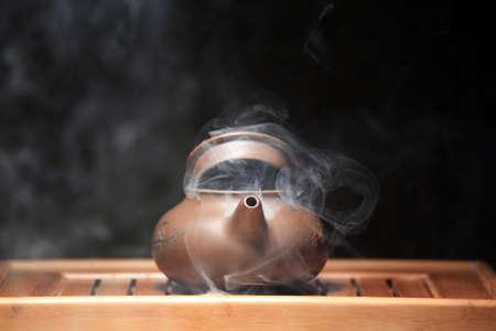 hot chinese teapot bamboo desk nobody