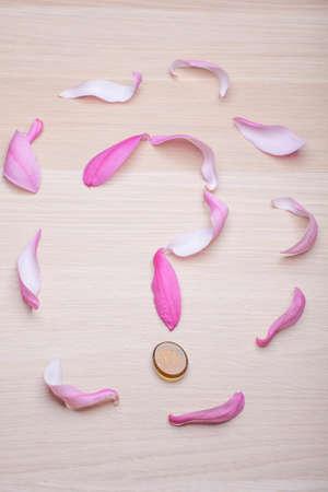 pink magnolia petal question mark wooden table nobody Imagens