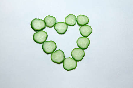 cucumber heart symbol white background nobody