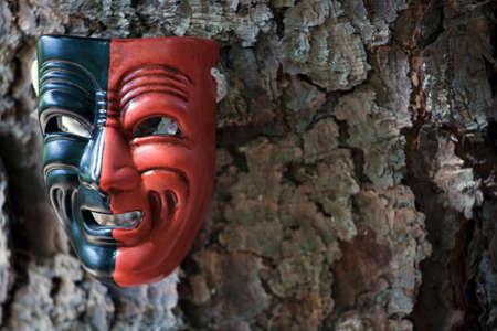 carnival mask fir tree background nobody