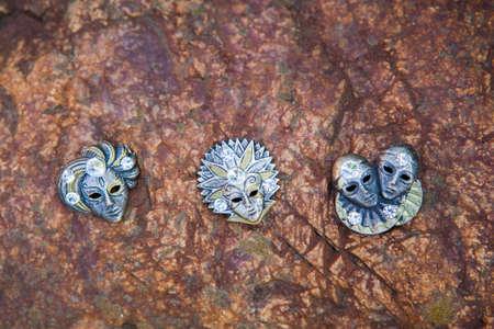 carnival mask natural stone background Stock Photo