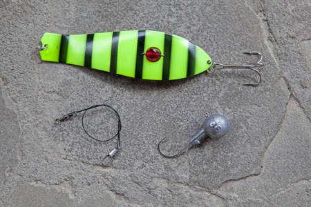 fishing bait natural stone background Stock Photo