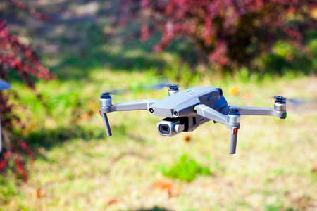 quadcopter fly grass background