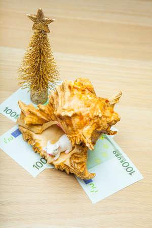 sea shell money miniature fir tree mouse table