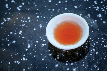 hot tea cup frozen lake background