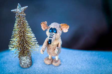 gold fir tree rat snow Stok Fotoğraf