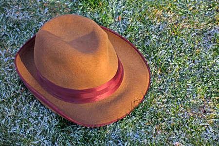 vintage hat snow grass background