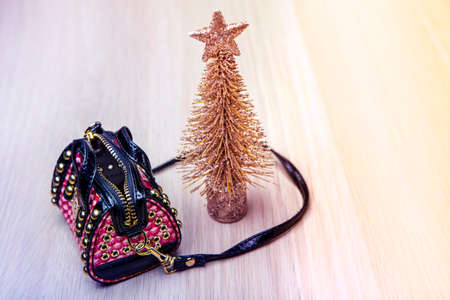 gold fir tree bag table background