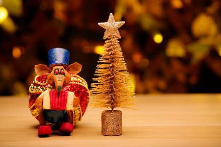 fir tree rat table gold bokeh