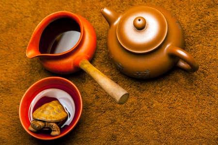 black tea cup plush background