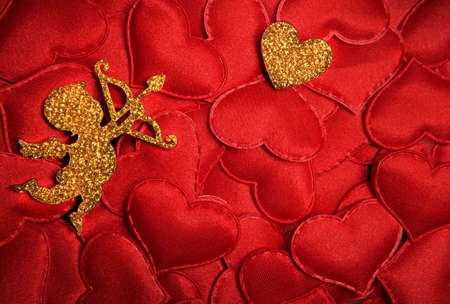 gold cupid red heart background