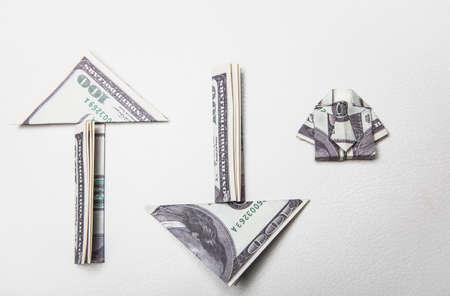 image of money origami on white background