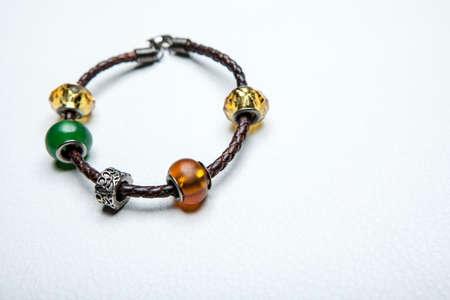 image of leather bracelet on white background