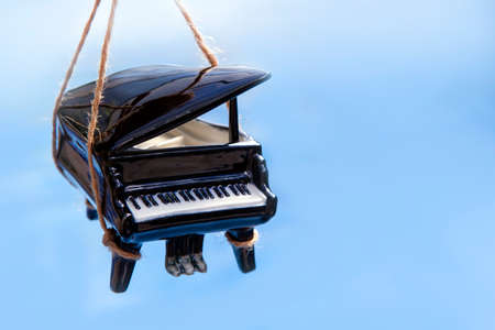 image of black piano rope