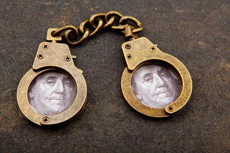 image of handcuff asphalt background