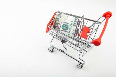 image of trolley money white background 스톡 콘텐츠