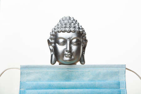 image of buddha mask white background