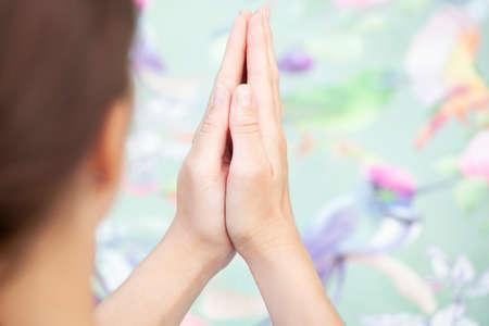 image of woman hands yoga Stock Photo