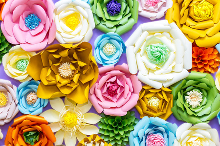 Colorful paper flowers on wall handmade artificial floral colorful paper flowers on wall handmade artificial floral decoration spring abstract beautiful background and mightylinksfo