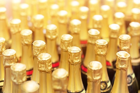 Many bottles of champagne with golden foil top in rows. Party celebration background. Wedding and christmas beverage. Stok Fotoğraf