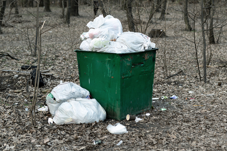 Old rusty metal green garbage container full with plastic waste standing in city park or forest. Environmental pollution. Stock Photo