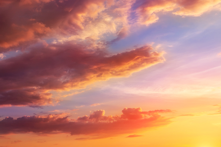 Natural sunset or sunrise with vibrant colors. Dramatic colorful sky background.