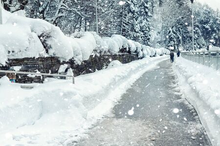 Scenic winter sidewalk park alley between snow-capped trees and bushes with clean road during frosty heavy snowfall. Snow removal on city streets. Cold weather forecast. People walking outdoors Reklamní fotografie