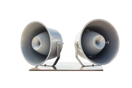 Pair of big retro car roof loudspeakers mounted on wooden plate isolated on white background. Urgent or emergency announcement , message or alert concept. Reklamní fotografie