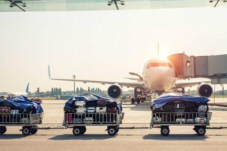 Carrello per bagagli che va veloce consegnando i bagagli dei passeggeri all'aereo moderno sulla pista di rullaggio all'aeroporto in una luminosa giornata di sole. Aerei commerciali sullo sfondo al tramonto o all'alba.