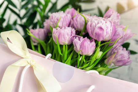 Close-up detail of fresh beautiful present of tender violet peony tulips bouquet and paper gift bag with romantic bow. Wedding or anniversary celebration surprise background. Pastel floral decoration Stockfoto