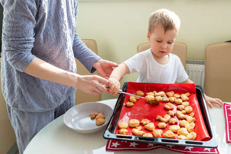 Back view young adult mother learn cooking sweet tasty cookies cute little toodler boy kid at home kitchen. Mom with small son baking sweet pastry homemade dessert. Parent child together activity