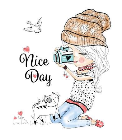 roztomilý: dívka Ilustrace