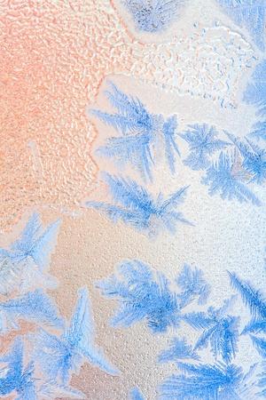 Frosty natural pattern on winter window Reklamní fotografie - 8734114