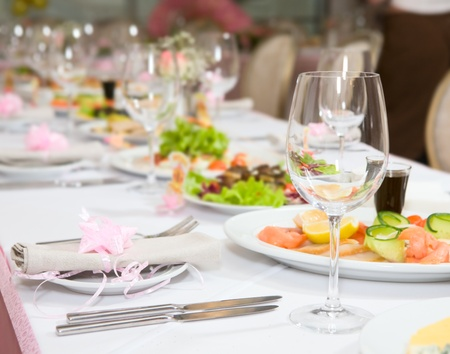 Modern tableware and glasses on a table Stock Photo - 8733903