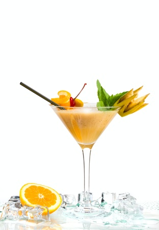 cocktail and ice isolated on white background