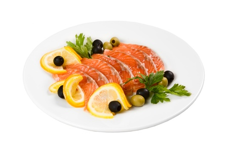 Cooked salmon fillets on white plate Stock Photo