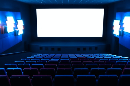 Dark blue rows of theater seats Stock Photo
