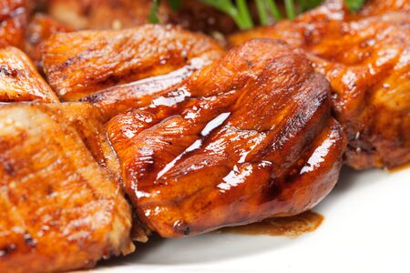 barbecue with sauce and vegetables Stock Photo - 9593212