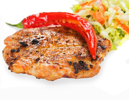 Gourmet grilled steak on a plate Stock Photo - 12166286