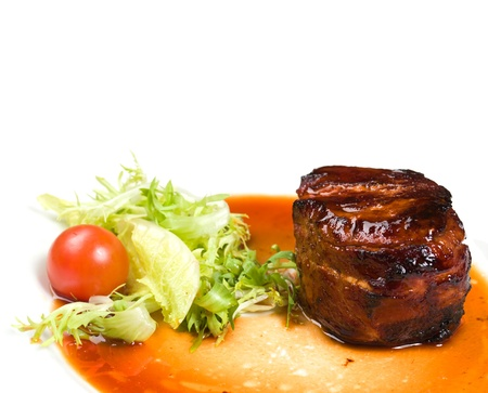 Filet mignon with vegetables photo