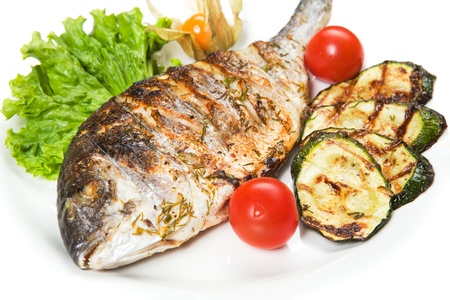 grilled fish: grilled fish with vegetables