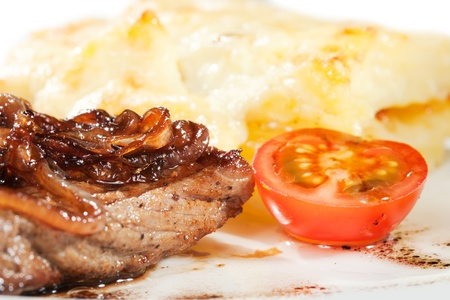 Gourmet grilled steak on a plate Stock Photo