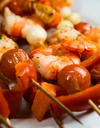 small shashliks with seafood