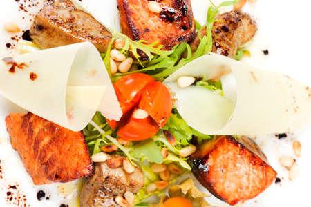 salad with salmon and seafood Stock Photo