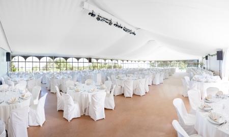 Bruiloft, evenement, feest, banket, diner, receptie tent Stockfoto