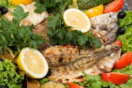grilled fish with vegetables photo