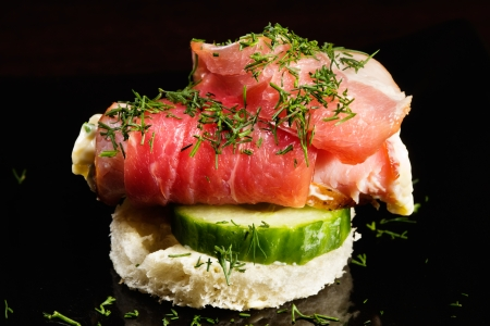canape with meat Stock Photo