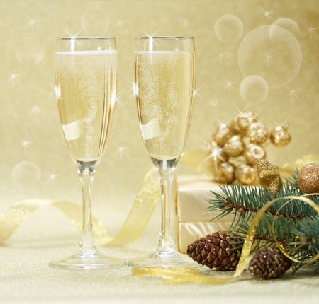 champagne party: Two champagne glasses with gift boxes